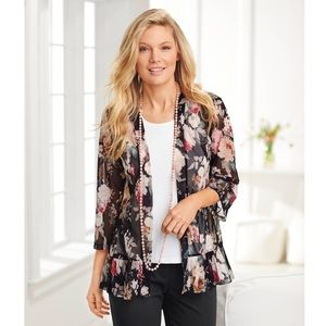North Style Soft Evening Floral Mesh Cardigan